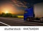 road on sunset. blue truck on... | Shutterstock . vector #444764044