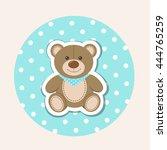 Cartoon Teddy Bear On Polka Do...