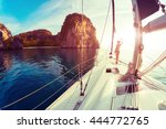 young lady standing on the bow... | Shutterstock . vector #444772765