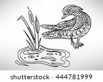 hand drawn with ethnic pattern....   Shutterstock .eps vector #444781999