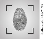 fingerprint icon on a gray... | Shutterstock .eps vector #444795769