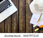 desk with laptop and work... | Shutterstock . vector #444797215