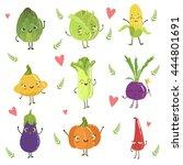 funny girly design vegetables... | Shutterstock .eps vector #444801691