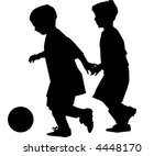 two boys playing soccer... | Shutterstock .eps vector #4448170