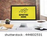 departure plane check in travel ... | Shutterstock . vector #444832531