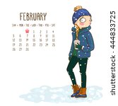 february. 2017 calendar with... | Shutterstock .eps vector #444833725
