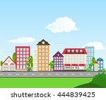 houses landscape | Shutterstock . vector #444839425