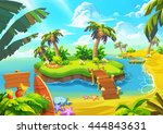 happy tropical sand beach coast ... | Shutterstock . vector #444843631