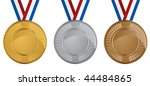 Olympic Medals Set Isolated On...