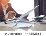 business documents on office... | Shutterstock . vector #444852865