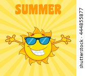 smiling sun cartoon mascot... | Shutterstock . vector #444855877