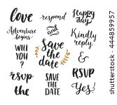 save the date collection with... | Shutterstock .eps vector #444859957