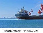 port crane bridge and bulk... | Shutterstock . vector #444862921