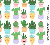 pattern with cute cartoon... | Shutterstock .eps vector #444866887