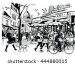 old cafe in paris montmartre  ... | Shutterstock .eps vector #444880015
