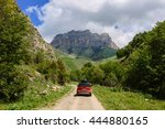 car on a dirt road in the... | Shutterstock . vector #444880165