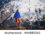 traveling men and the high... | Shutterstock . vector #444880261
