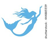 mermaid swimming  vector... | Shutterstock .eps vector #444885559