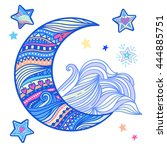 doodle night vector isolated...   Shutterstock .eps vector #444885751