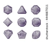 cartoon vector grey gems and... | Shutterstock .eps vector #444887011