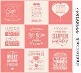 set of vintage love typographic ...   Shutterstock .eps vector #444891847