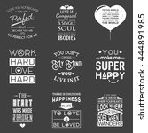 set of vintage love typographic ... | Shutterstock .eps vector #444891985