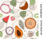seamless exotic fruit pattern... | Shutterstock .eps vector #444896194