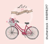 retro bicycle with a flowers on ... | Shutterstock .eps vector #444898297