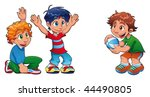 three kids are playing. funny... | Shutterstock .eps vector #44490805