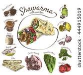 vector illustration of shawarma ... | Shutterstock .eps vector #444915019