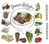 vector illustration of doner... | Shutterstock .eps vector #444915055
