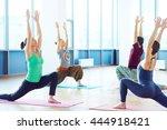 yoga on mats | Shutterstock . vector #444918421