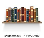 colorful books on the wood shelf | Shutterstock .eps vector #444920989