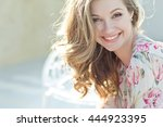 beautiful woman smiling | Shutterstock . vector #444923395