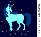 beautiful cartoon the unicorn... | Shutterstock . vector #444928504