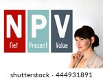 npv. net present value. finance ... | Shutterstock . vector #444931891