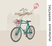 retro bicycle with a flowers... | Shutterstock .eps vector #444947041