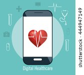 digital healhcare isolated icon ... | Shutterstock .eps vector #444947149