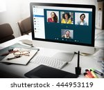 group friends video chat...   Shutterstock . vector #444953119