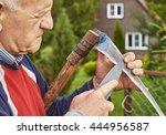 senior man sharpening a scythe... | Shutterstock . vector #444956587