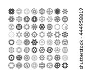 vector black gears icons set...