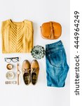 flat lay feminini clothes and... | Shutterstock . vector #444964249