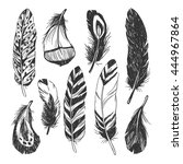 feather set in native american... | Shutterstock .eps vector #444967864