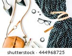 flat lay feminini clothes and... | Shutterstock . vector #444968725
