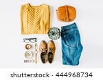 Stock photo flat lay feminini clothes and accessories collage with brown cardigan jeans glasses watch 444968734