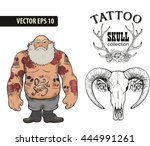 brutal tattoo man collection | Shutterstock .eps vector #444991261