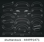 set of hand drawn chalk drawing ... | Shutterstock .eps vector #444991471