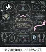vector chalk drawing rustic... | Shutterstock .eps vector #444991477