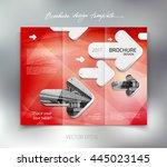 vector modern tri fold brochure ... | Shutterstock .eps vector #445023145