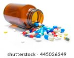 pills spilling out of pill... | Shutterstock . vector #445026349